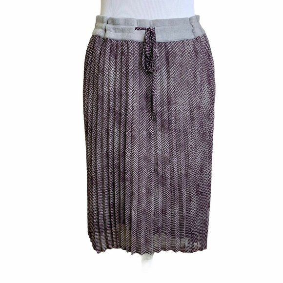 Halogen Burgundy Print Chiffon Pleated Skirt